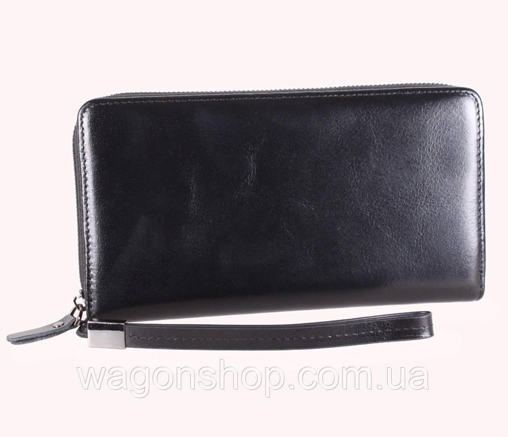 Кожаный клатч на молнии BLACK001-2 Черный