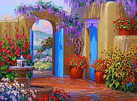"""Принт для вышивки лентами на габардине """"Цветочный дворик"""""""