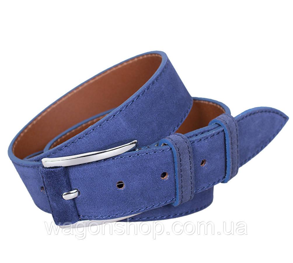 Синий замшевый ремень унисекс  Dovhani 3005