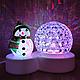 Світлодіодний світильник-нічник, диско куля сніговик, фото 4