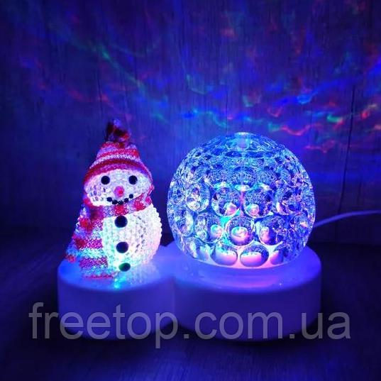 Світлодіодний світильник-нічник, диско куля сніговик