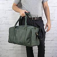Дорожная сумка Mihey cube long зеленая из натуральной кожи crazy horse 1471006