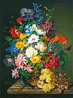 """Принт для вышивки лентами на габардине """"Цветы в вазе"""""""