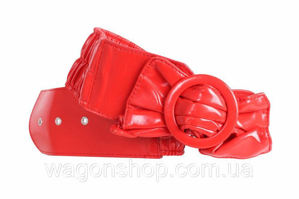 Широкий женский пояс красного цвета 75-90 см.