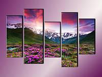 """Модульная картина """"Закат в горах"""" , фото 1"""