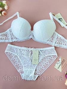 80С Сияющий белый комплект нижнего белья для девушки, красивый бюстгальтер на косточках, трусики слип