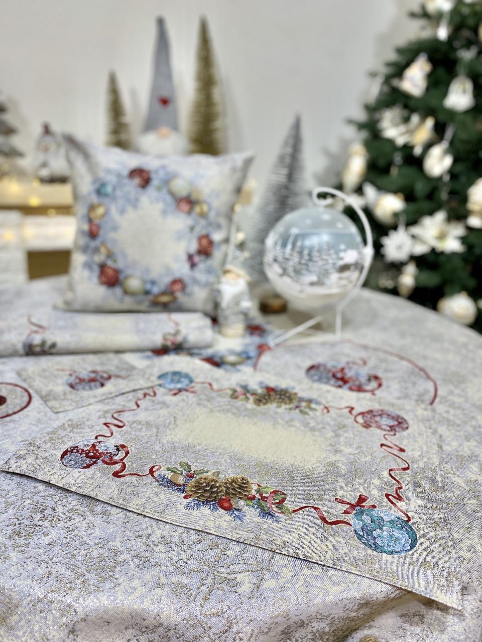 """Салфетка новогодняя гобеленовая """"Морозко"""" (с серебристой люрексовой ниткой)"""