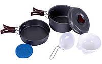 Походный набор посуды, набор туристической посуды из анодированного алюминия, наборы посуды для туризма