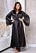 Атласный комплект длинный халат с коротким пеньюаром Черный, фото 4