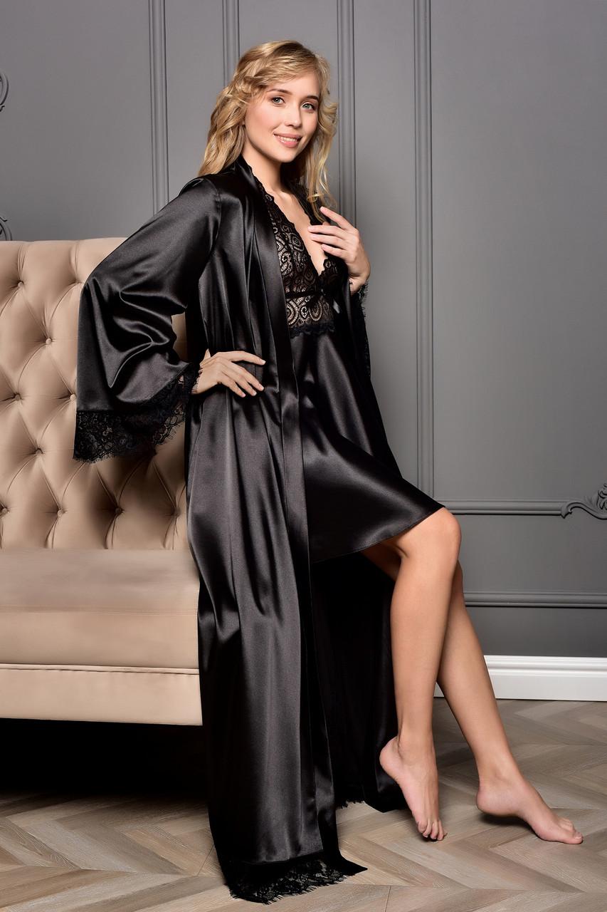 Атласный комплект длинный халат с коротким пеньюаром Черный