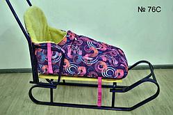 Меховой чехол фиолетовый с принтом ярких кругов