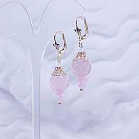 Серьги Розовый Кварц серия Афродита натуральный природный камень