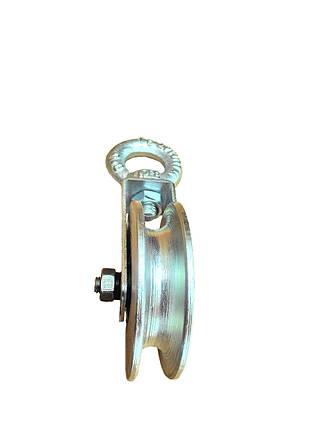 Блок ролик стальной монтажный 60 мм с подшипником ролик для подъема груза, фото 2