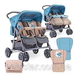 Детская коляска для двойни синяя Lorelli Twin Blue&Beige Moon Bear для детей от 6 месяцев до 3-х лет