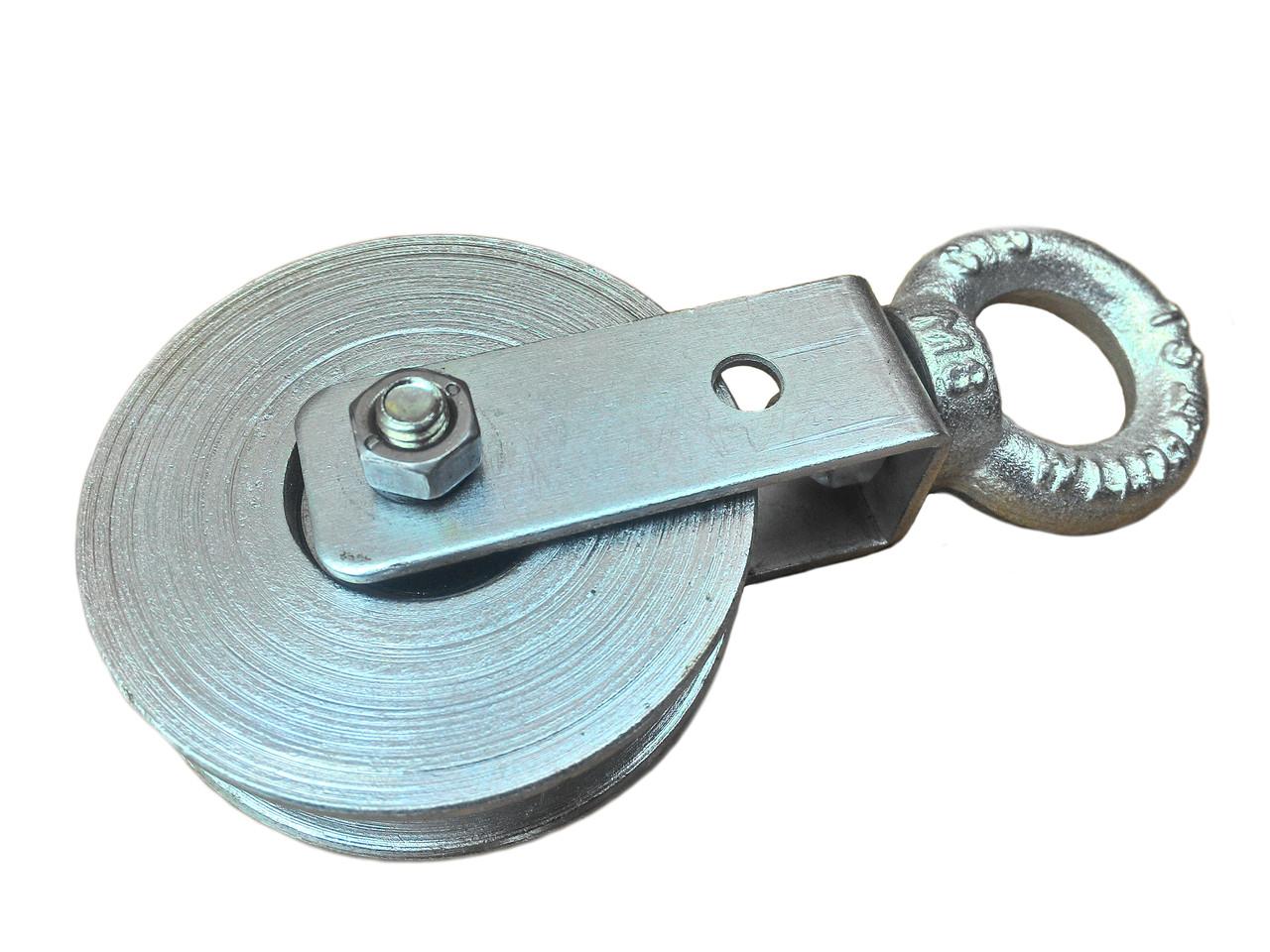Блок ролик стальной монтажный 70 мм с подшипником ролик для подъема груза