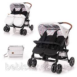 Детская прогулочная коляска для двойни черно-серая Lorelli Twin Grey&Black Cross от 6 месяцев до 3-х лет