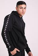 KAPPA x JUICY Мужской черный спортивный костюм с брендовым лампасом зима. Худи черное, штаны черные