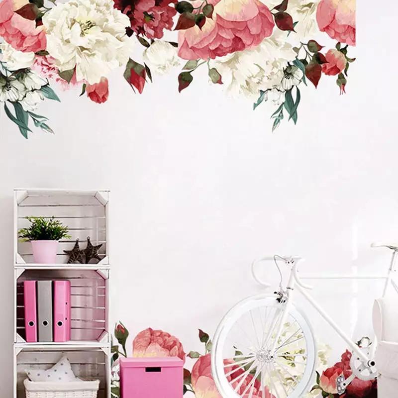 """Вінілова наклейка на стіну, вікна, дзеркала, шафи """"півонії біло-рожево-червоні"""" довжина 1метр 90см (лист 60*90см)"""