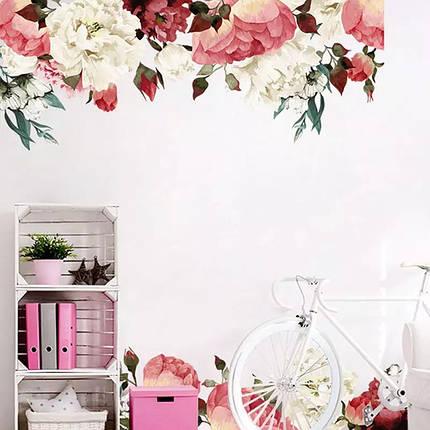 """Вінілова наклейка на стіну, вікна, дзеркала, шафи """"півонії біло-рожево-червоні"""" довжина 1метр 90см (лист 60*90см), фото 2"""