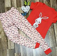 ПИЖАМА женская розовая короткий рукав Зайчик ТУРЦИЯ S.M..XL одежда для отдыха и сна