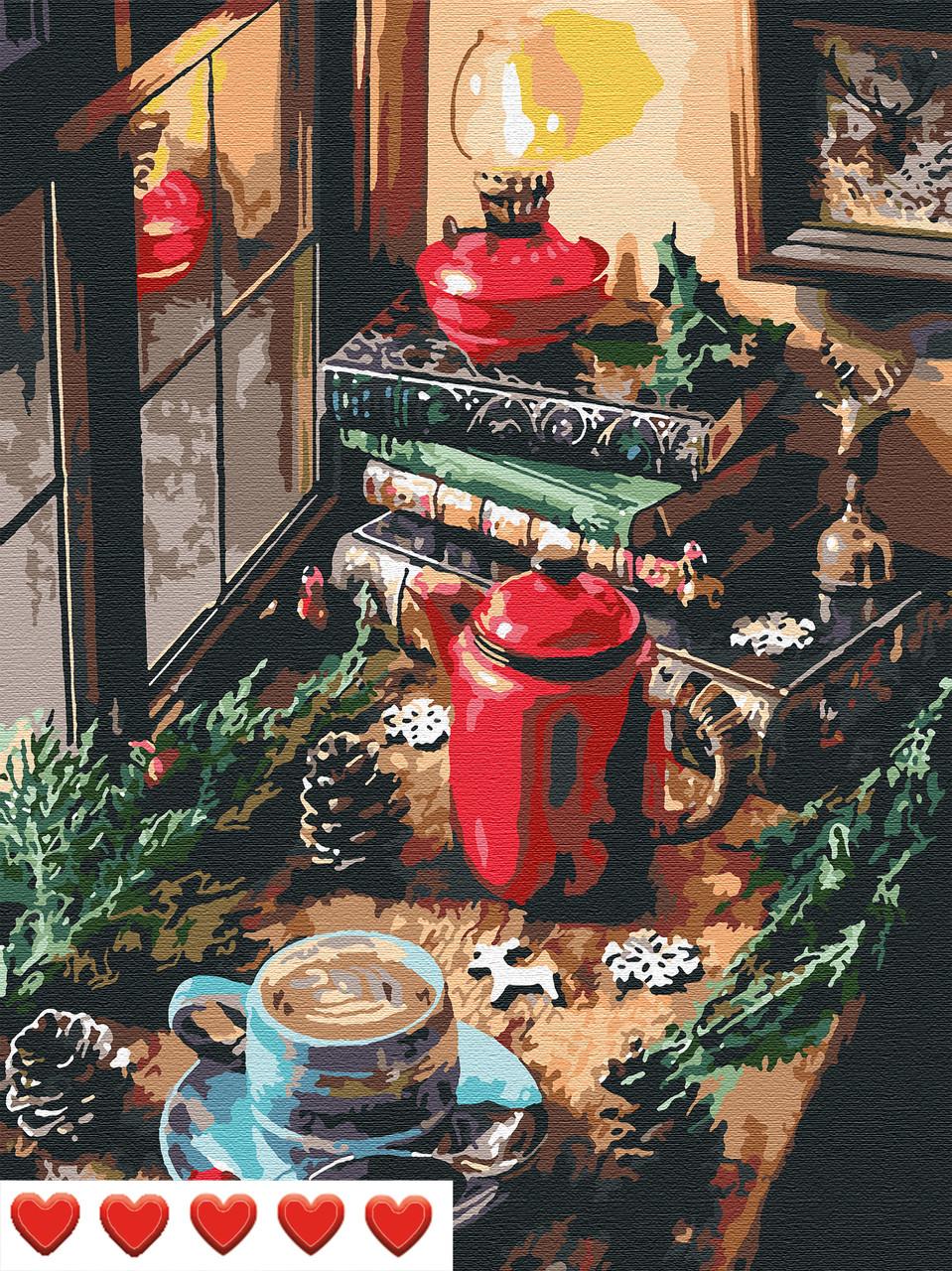 Картина по номерам В ожидании Нового года, цветной холст, 40*50 см, без коробки, ТМ Barvi+ ЛАК