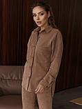 Рубашка из замши с удлиненной спинкой и накладными карманами, фото 2