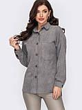 Рубашка из замши с удлиненной спинкой и накладными карманами, фото 7