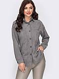 Рубашка из замши с удлиненной спинкой и накладными карманами, фото 6
