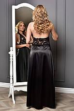 Комплект длинный атласный пеньюар и халат с кружевом Черный от XS до XXL, фото 3