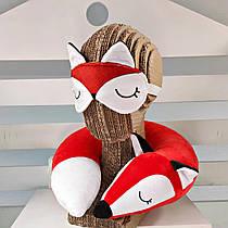 Набор для сна дорожная подушка с маской Лисичка Фокси 34см красный