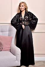 Комплект длинный атласный пеньюар и халат с кружевом Черный от XS до XXL, фото 2