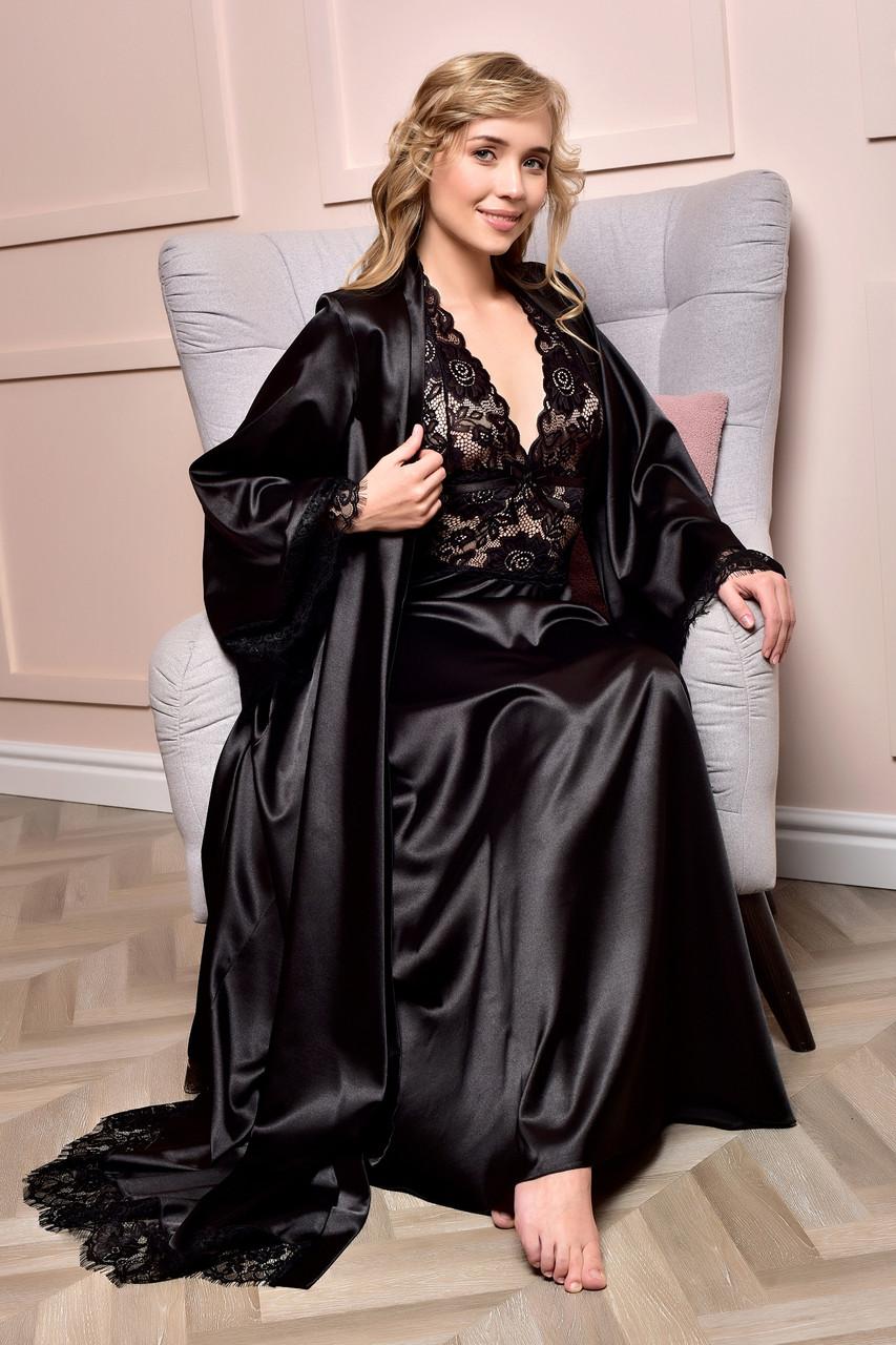 Комплект длинный атласный пеньюар и халат с кружевом Черный от XS до XXL