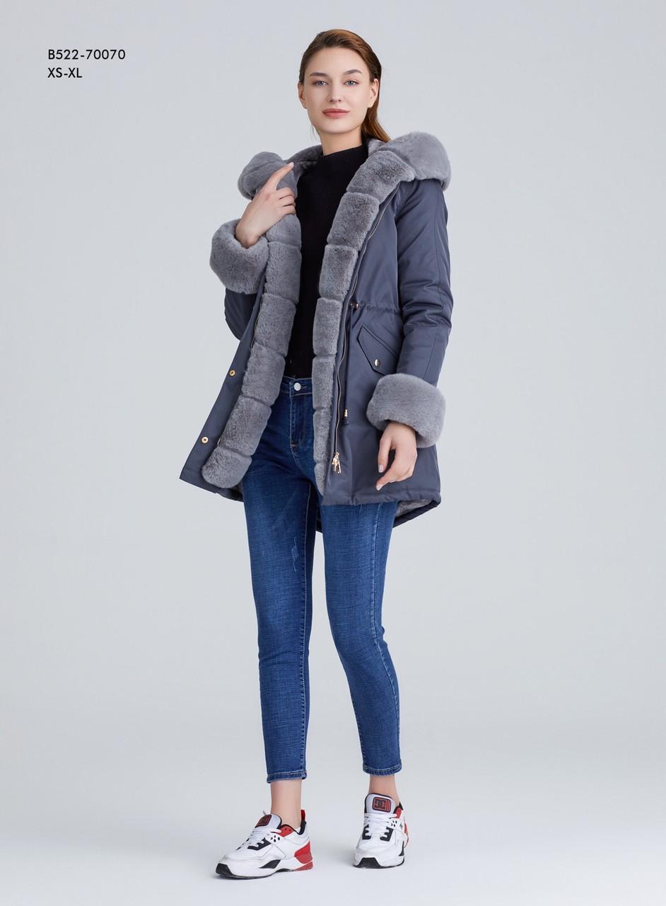 Зимняя женская серая куртка парка на меху с капюшоном