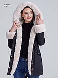 Зимняя женская серая куртка парка на меху с капюшоном, фото 4