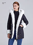 Зимняя женская серая куртка парка на меху с капюшоном, фото 5
