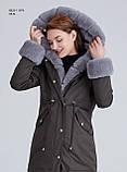 Зимняя женская серая куртка парка на меху с капюшоном, фото 8
