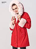 Зимняя женская серая куртка парка на меху с капюшоном, фото 9