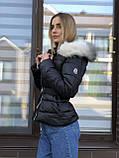 Зимняя женская черная куртка с капюшоном с мехом, фото 2