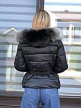 Зимняя женская черная куртка с капюшоном с мехом, фото 3