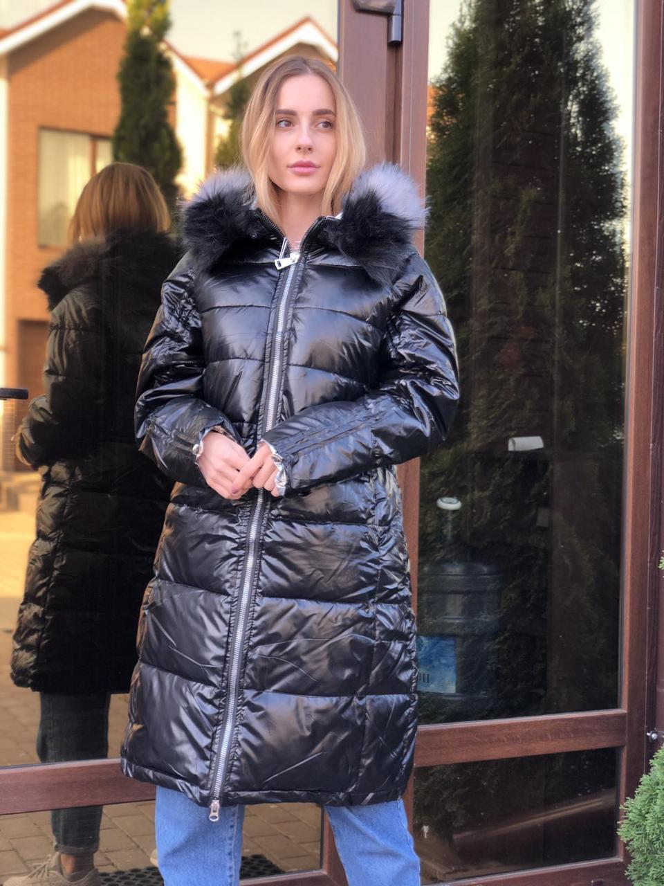 Женская зимняя куртка черная длинная с блеском