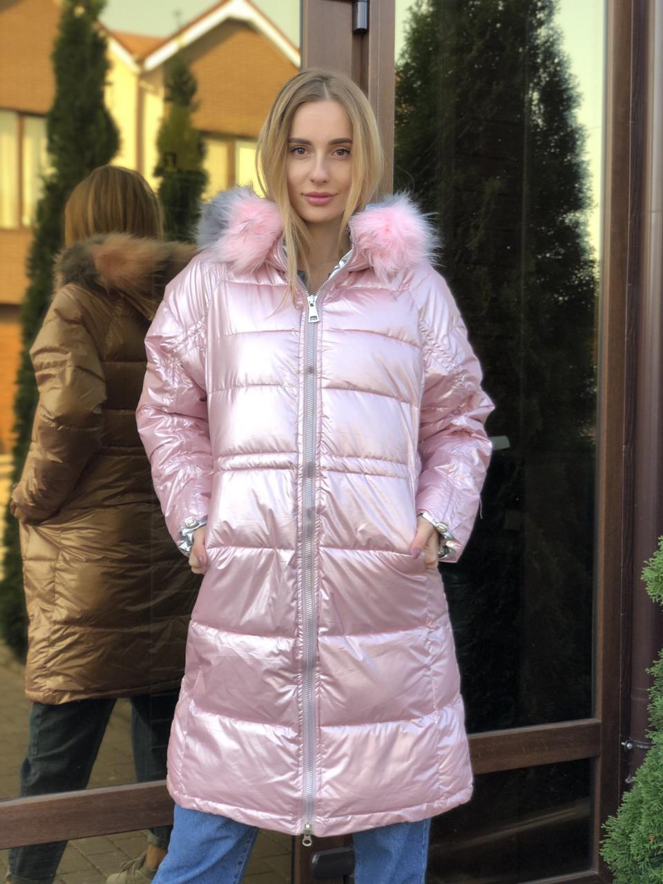 Женская зимняя куртка розовая удлиненная с капюшоном