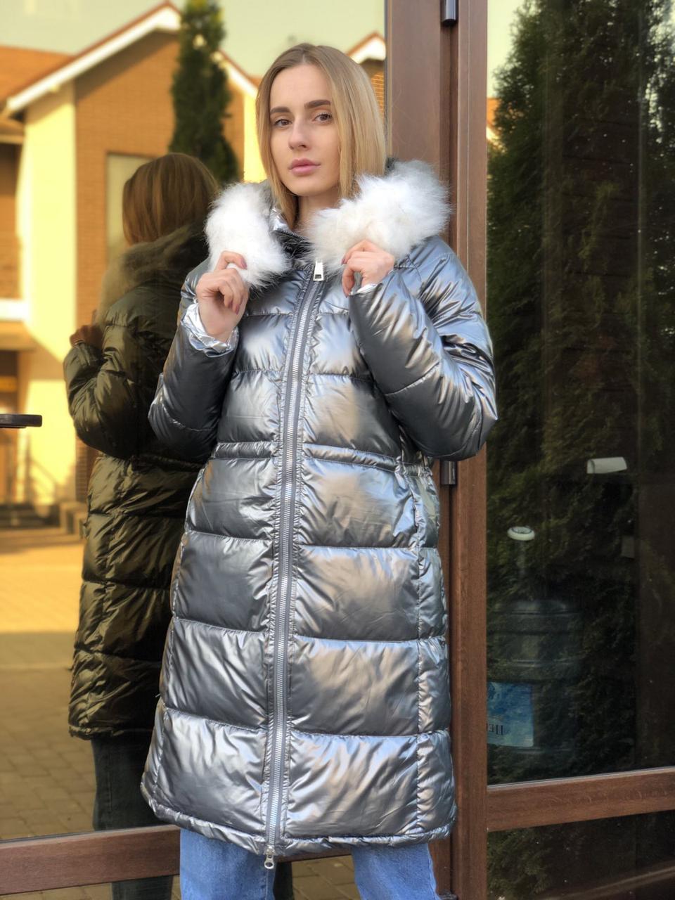 Женская зимняя куртка серая длинная с капюшоном