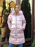 Женская зимняя куртка серая длинная с капюшоном, фото 5