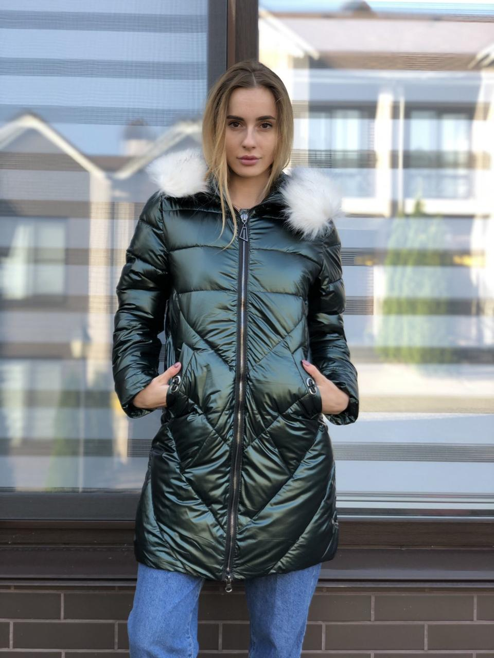 Женская зимняя куртка черная длинная стеганая