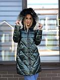 Женская зимняя куртка черная длинная стеганая, фото 2