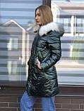 Женская зимняя куртка черная длинная стеганая, фото 4