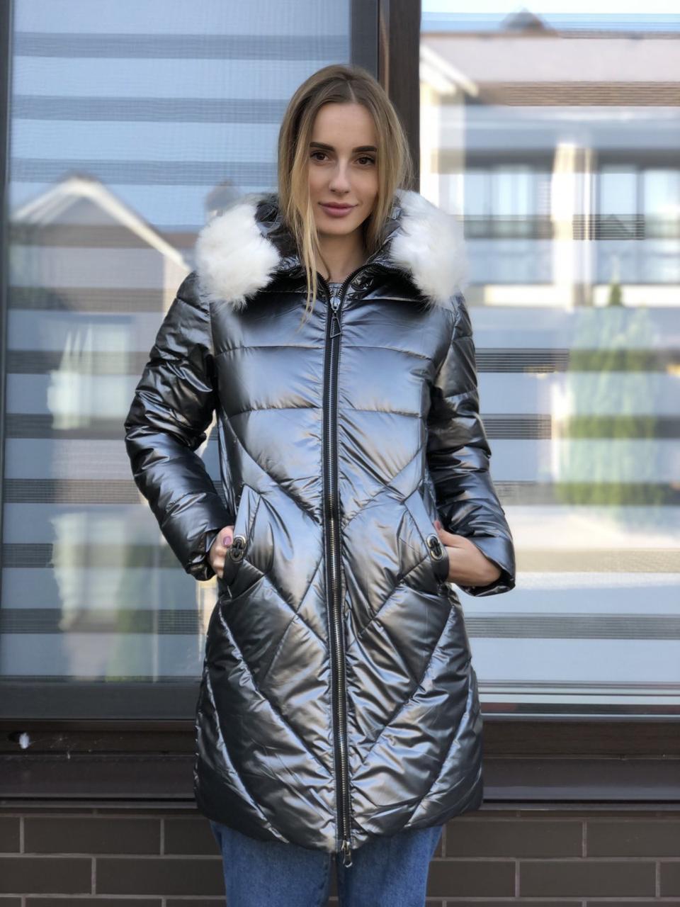 Женская зимняя куртка стеганая серебро