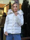 Зимняя женская серая куртка с капюшоном с мехом, фото 6