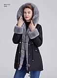 Зимняя женская черная куртка парка на меху с капюшоном, фото 7