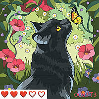 Картина по номерам Кошка, цветной холст, 30*30 см, без коробки, ТМ Barvi+ ЛАК